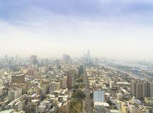 Aerial view of smog in city. Aerial view of smog in kaohsiung city. Taiwan Stock Images