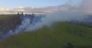 Aerial view smoke of wildfire. stock video