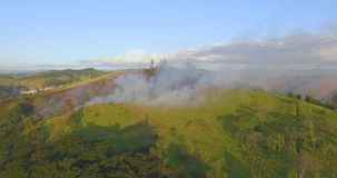 Aerial view smoke of wildfire. stock footage