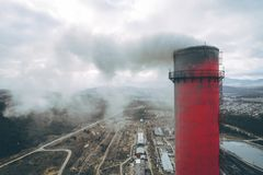Aerial view smokestack. Pipe energy plant factory Stock Photography