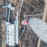 Aerial view smokestack. Pipe energy plant factory Royalty Free Stock Photos