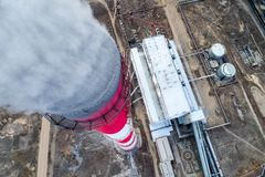 Aerial view smokestack. Pipe energy plant factory Stock Image