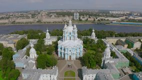 Aerial view Smolny cathedral in Saint Petersburg, Russia.  stock footage