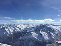 Aerial view of snow capped mountains Royalty Free Stock Photography