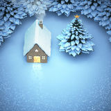 Aerial view snow christmas. the light out come the door home and. Snow on the pine Royalty Free Stock Photo