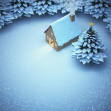 Aerial view snow christmas. the light out come the door home and. Snow on the pine Royalty Free Stock Photos