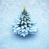 Aerial view snow christmas tree pine isolated. Royalty Free Stock Images