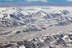Aerial view snow cover mountain shape Iceland winter season. Natural landscape background Royalty Free Stock Photography