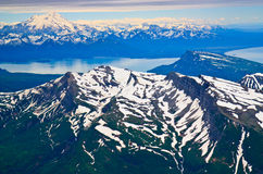 Aerial view of snow covered Alaska mountains Royalty Free Stock Photo