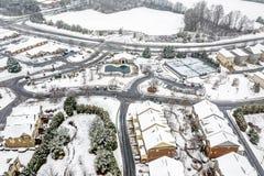 Free Aerial View Snow Covered Houses In Atlanta Georgia Suburbs Stock Photos - 172975763