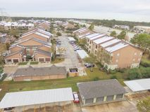 Aerial view snow covered apartment complex building in Texas, Am royalty free stock images