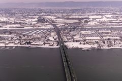 Aerial view on snow covered Portland metro area on a winter day in January 2017 royalty free stock photography