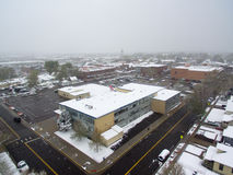 Aerial View of Snow Covered School Royalty Free Stock Photography