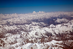 An aerial view of snow ladden Western Himalayas, Ladakh-India Stock Images