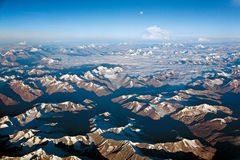 An aerial view of snow ladden Western Himalayas, Ladakh-India Royalty Free Stock Photography