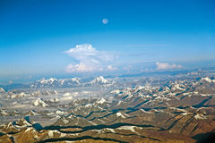 An aerial view of snow ladden Western Himalayas, Ladakh-India Royalty Free Stock Images