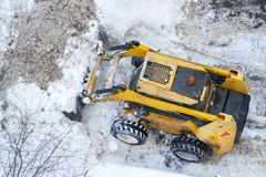 Top view on a snow-removing machine stock photos