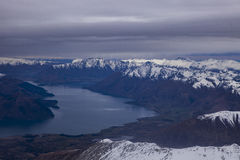 Aerial view of snowcapped mountain and lake wakatipu south islan Stock Photo