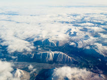 Aerial view of snowcapped mountains in BC Canada Royalty Free Stock Photography