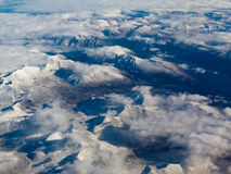 Aerial view of snowcapped mountains in BC Canada Stock Photo