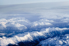 Aerial view of snowcapped peaks in BC, Canada royalty free stock photo