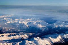 Aerial view of snowcapped peaks in BC, Canada Royalty Free Stock Image
