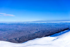 Aerial View of snowed mountain Falakro, in Greece. Royalty Free Stock Photography