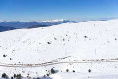 Aerial View of snowed mountain Falakro, in Greece. Royalty Free Stock Photos