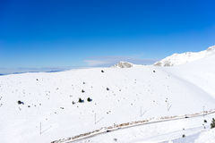 Aerial View of snowed mountain Falakro, in Greece. Stock Image