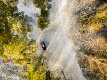 Aerial view of snowy forest in sunny winter day Stock Photo