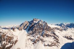 Aerial View of Snowy Mountain Stock Photos