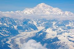 Aerial view of snowy mountains Stock Photo