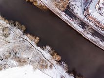 Aerial view of snowy River Severn, Shrewsbury. Royalty Free Stock Image