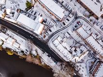 Aerial view of snowy River Severn, Shrewsbury. Stock Images