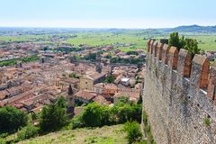 Soave town aerial view.Italian landscape Stock Photos