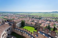Soave town aerial view.Italian landscape royalty free stock photos