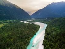 Aerial view of Soca river in Julian Alps at sunset. Slovenia, Soca Valley, Bovec district, Europe royalty free stock photography