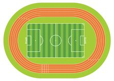 Aerial view of a soccer field drawn with white line on a green background with a running track around the soccer field. Vector image Stock Photography