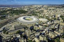 Aerial view of a soccer field Maracana Stadium in Rio de Janeiro Stock Photos