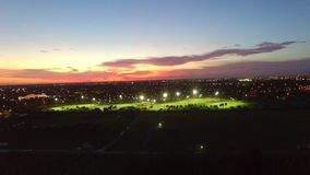 Aerial view of soccer fields. stock video