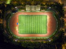 Aerial view of a soccer. Football field from above. Aerial view of a football match stock photos