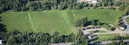Aerial view of a soccer and football field / Royalty Free Stock Photo