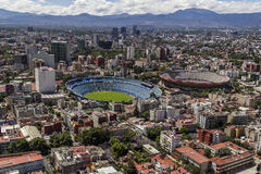 Aerial view of soccer stadium and bullfight arena in mexico ci Royalty Free Stock Image