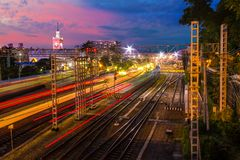 Aerial view of Sochi railway station at twilight Royalty Free Stock Photo