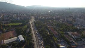 Aerial view of Sofia Bulgaria Eastern Europe Traffic Jam boulevard Bulgaria. Aerial view of Sofia city centre. boulevard Bulgaria, Traffic Jam Eastern Europe stock video footage