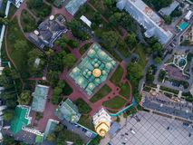 Sofievskaya Square and St. Sophia Cathedral in Kiev, Ukraine. Aerial view of Sofievskaya Square and St. Sophia Cathedral in Kiev, Ukraine. Tourist Sight royalty free stock photography