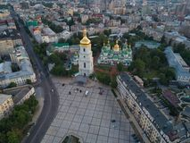 Sofievskaya Square and St. Sophia Cathedral in Kiev, Ukraine. Aerial view of Sofievskaya Square and St. Sophia Cathedral in Kiev, Ukraine. Tourist Sight royalty free stock images