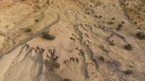 Aerial view of soil erosion stock footage