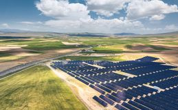 Aerial view on the solar energy station. Concept and idea of alternative energy stock image