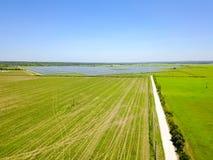 Solar farm aerial in Austin, Texas, USA Stock Image